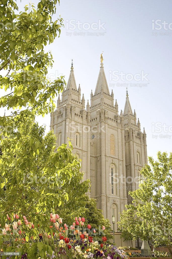 Salt Lake Temple with Trees and Spring Flowers royalty-free stock photo