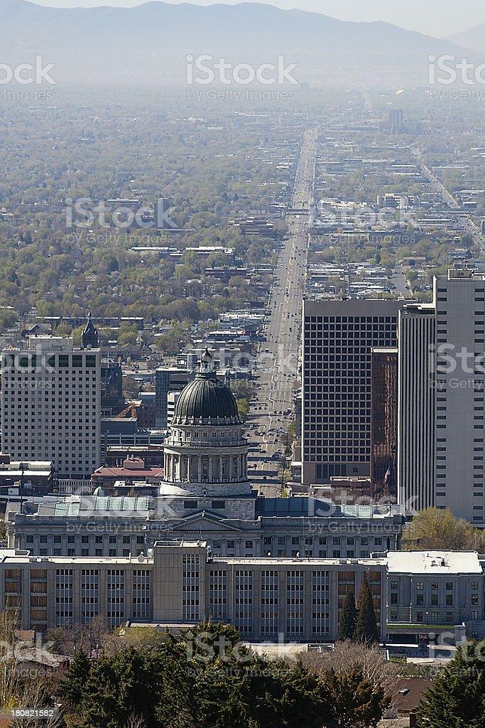 Salt Lake Valley and City Skyline, High Angle royalty-free stock photo