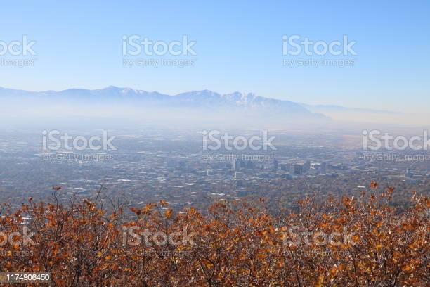 Photo of Salt Lake Valley from summit of Mt Van Cott, Wasatch Range, Utah