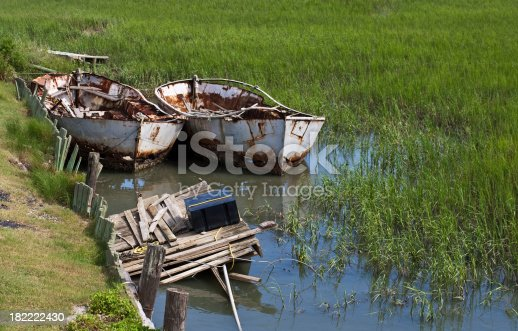 Two rusty old boats in a South Carolina Salt marsh.