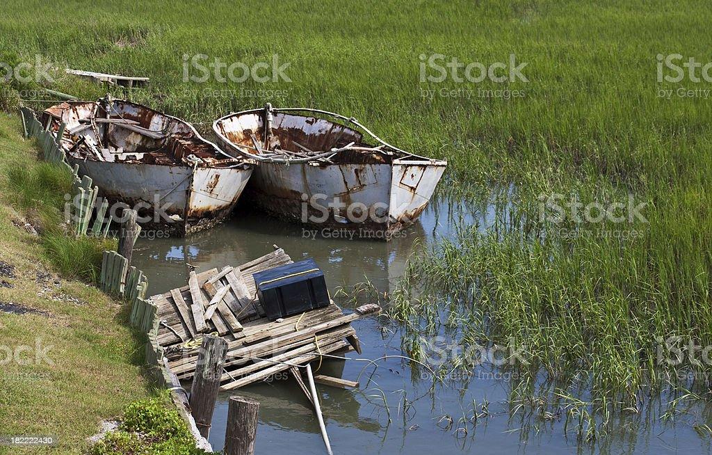 Salt Marsh Boats stock photo