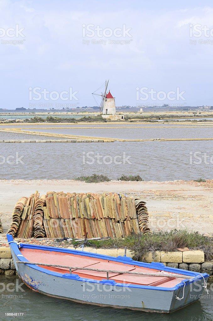 salt mill and basins (Sicily-Italy) royalty-free stock photo