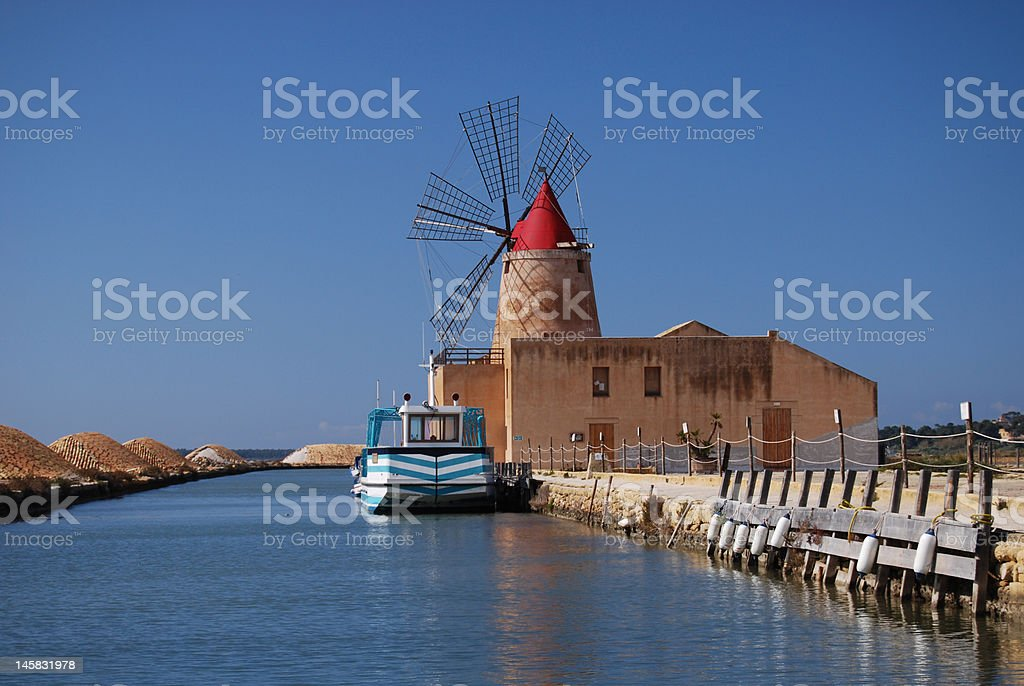 Salt mill near Trapani, Sicily stock photo