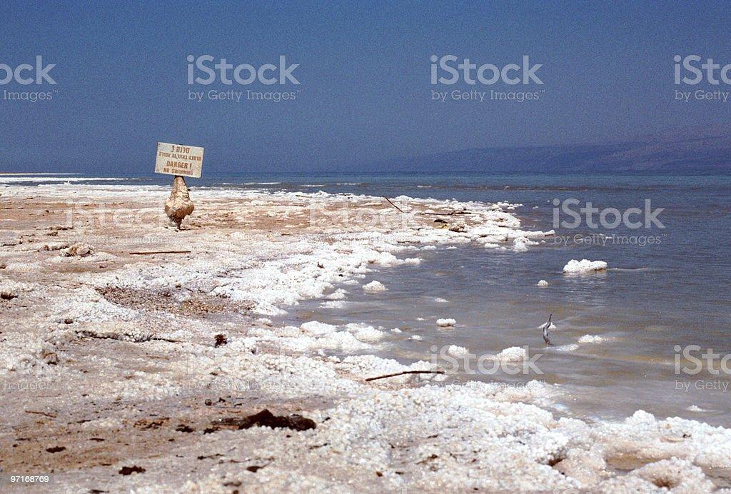 Salt on banks of Dead Sea royalty-free stock photo