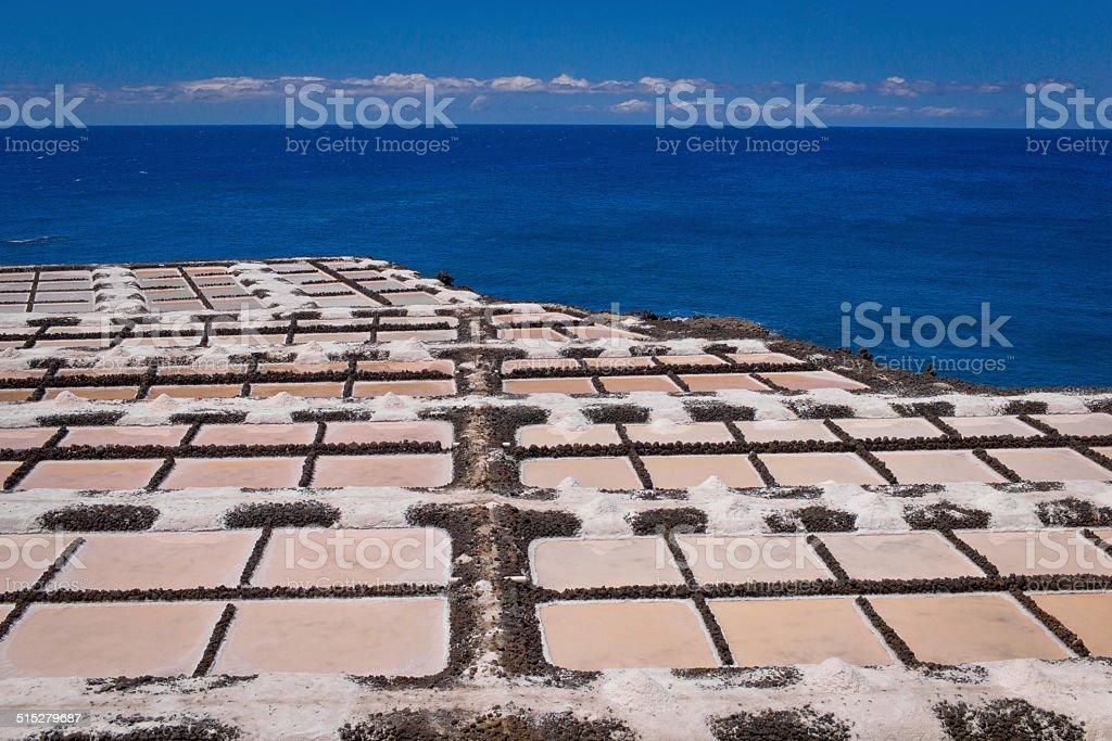 Salt pans at Punta Fuencaliente stock photo