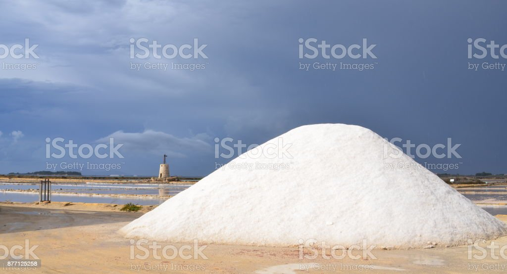 Saline in Trapani stock photo