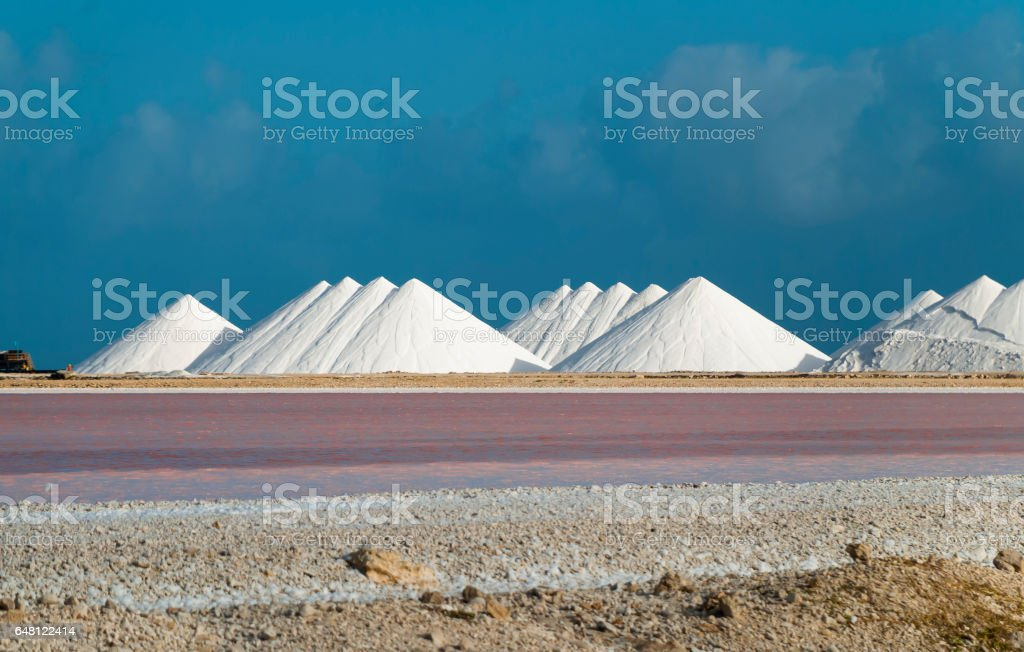 Salt pans of Bonaire stock photo