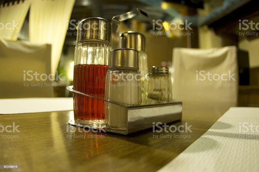 Salt, pepper, oil and vinegar royalty-free stock photo