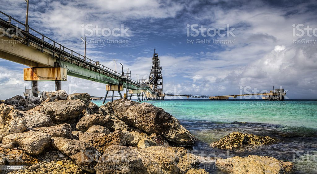 Salt Pier, Bonaire stock photo
