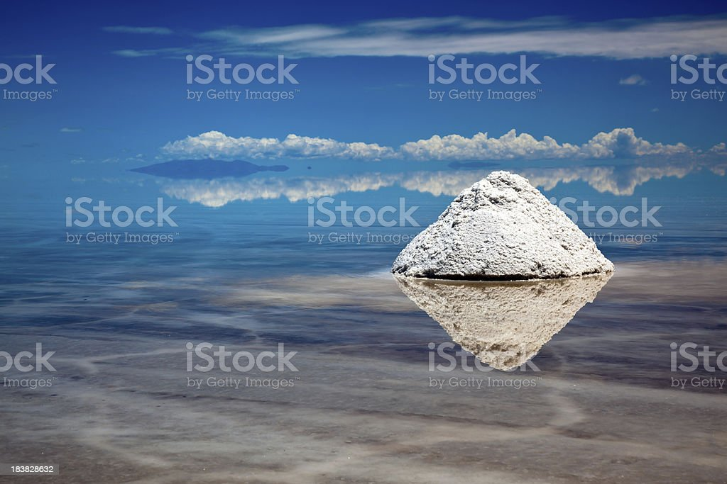 Salt Piles in Salar de Uyuni, Potosi, Bolivia, South America stock photo