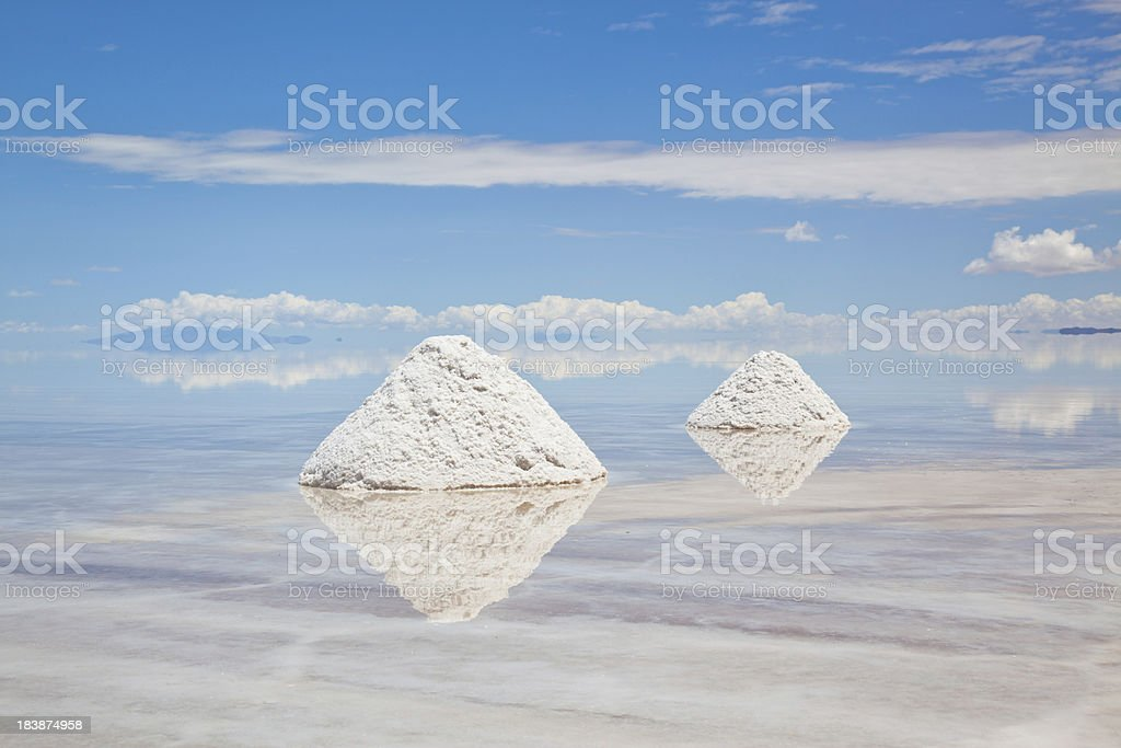 Salt Piles in Salar de Uyuni, Potosi, Bolivia, South America royalty-free stock photo