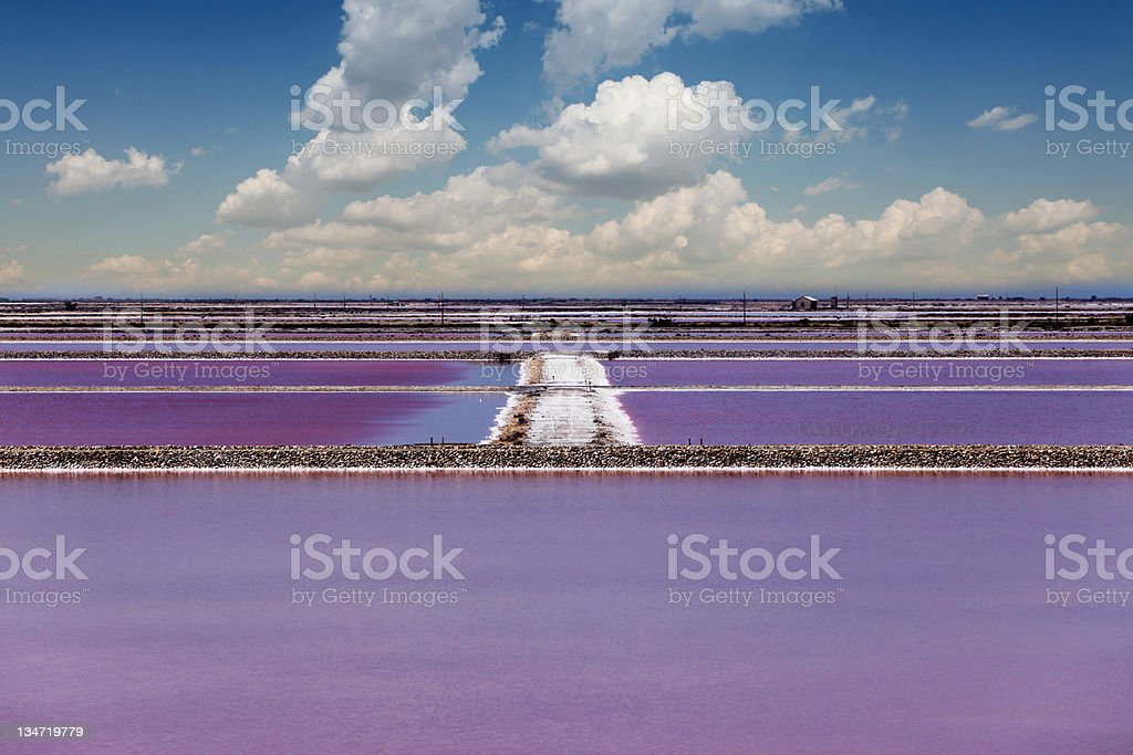 Salt ponds in Southern Provence stock photo