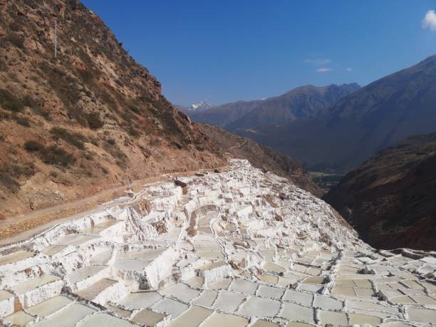 Salt ponds of maras peru stock photo