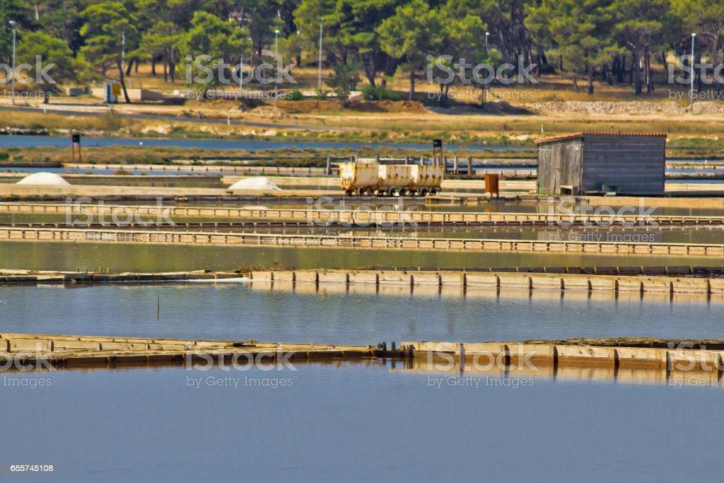 Salt production plant in Nin, Dalmatia, Croatia stock photo