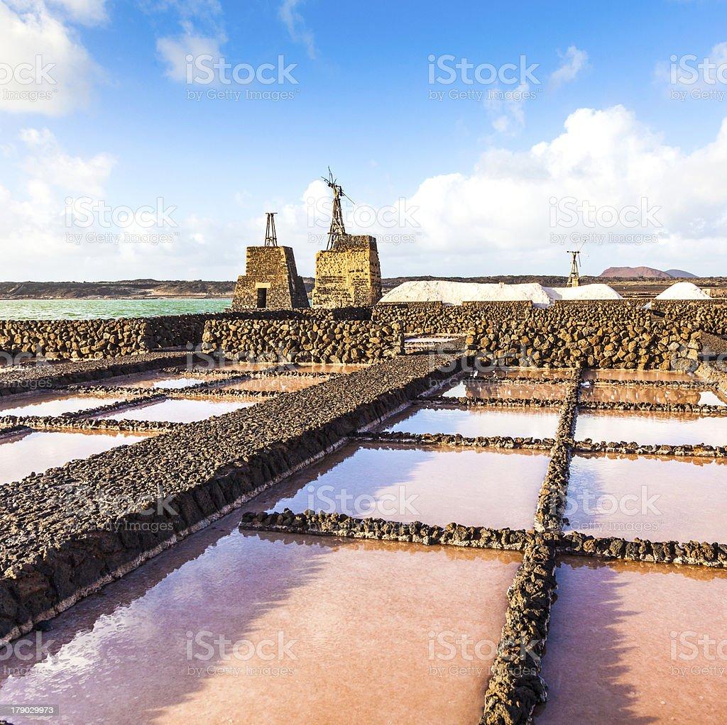 Salt refinery, Saline from Janubio, Lanzarote, Spain royalty-free stock photo