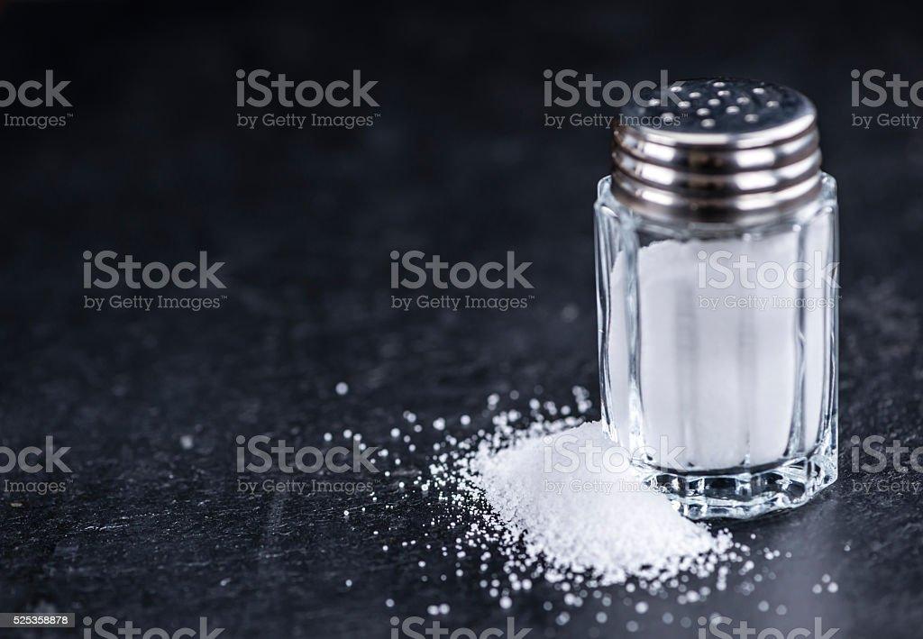 Salt Shaker on a slate slab stock photo