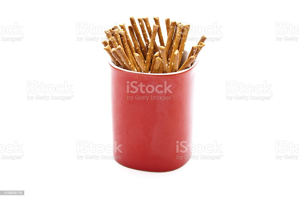 Salt Sticks in Red Coffee Cup stock photo