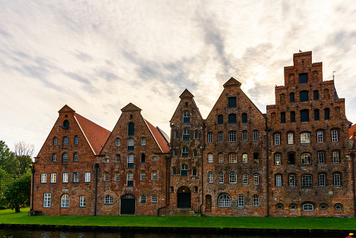Salt storehouses of the Old Part of Lubeck, a city in Schleswig-Holstein, northern Germany. UNESCO World Heritage