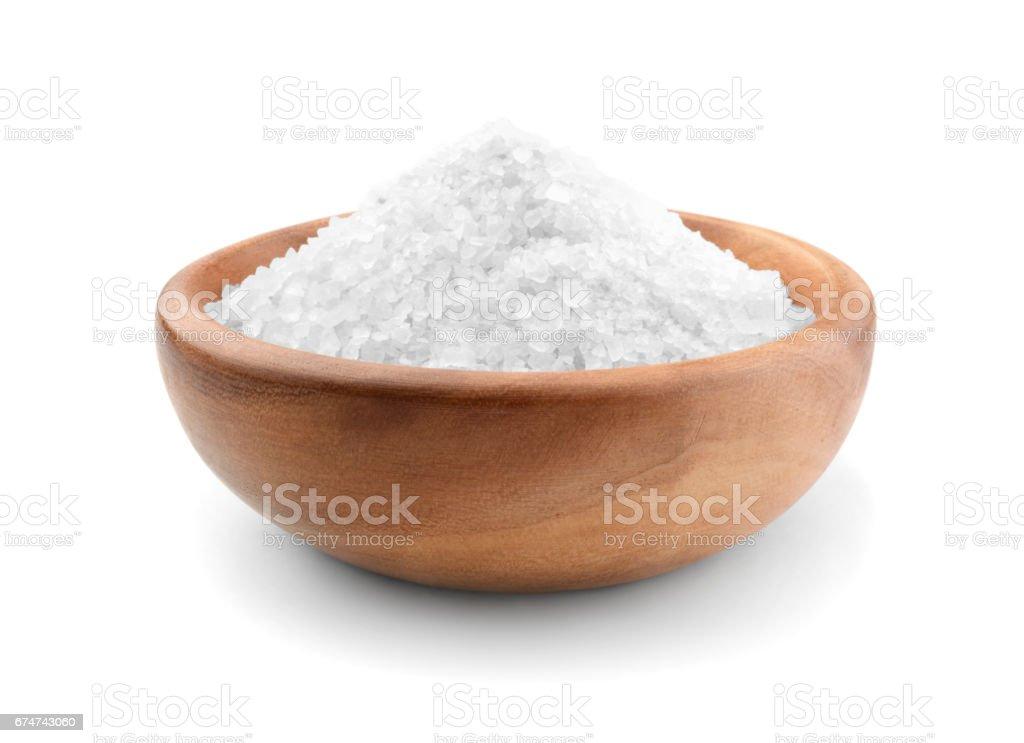 Salt wooden bowl stock photo