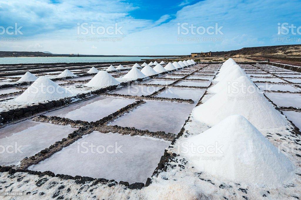 Salt works of Janubio, Lanzarote, Canary Islands (Spain) stock photo