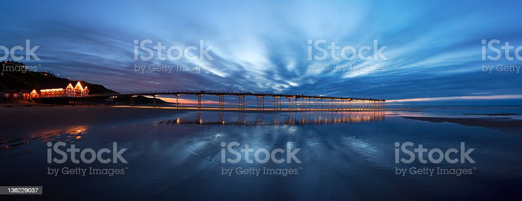 Saltburn Pier at twilight royalty-free stock photo