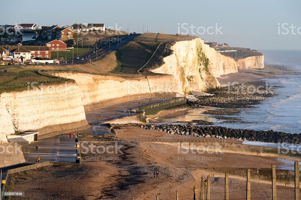 Saltdean Beach and Cliffs at Sunset stock photo