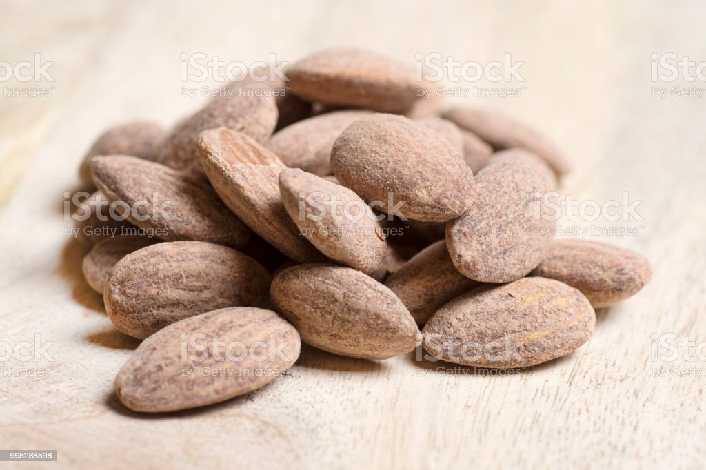 Salted almonds, nuts stock photo