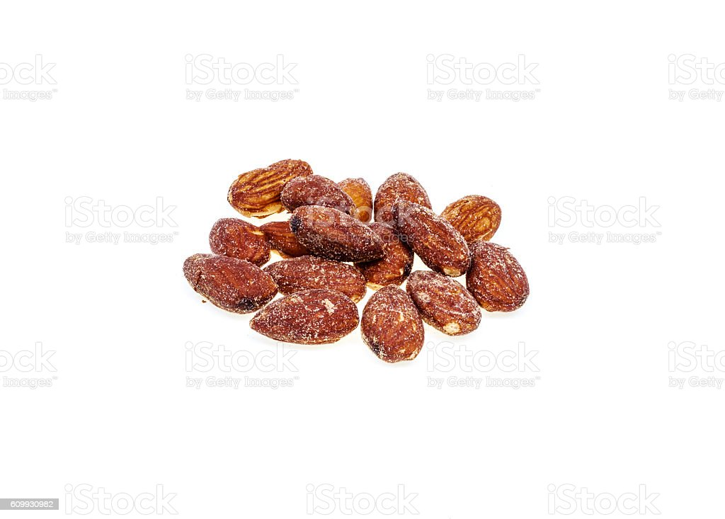 Salted and roasted almonds is snack.Isolate stock photo
