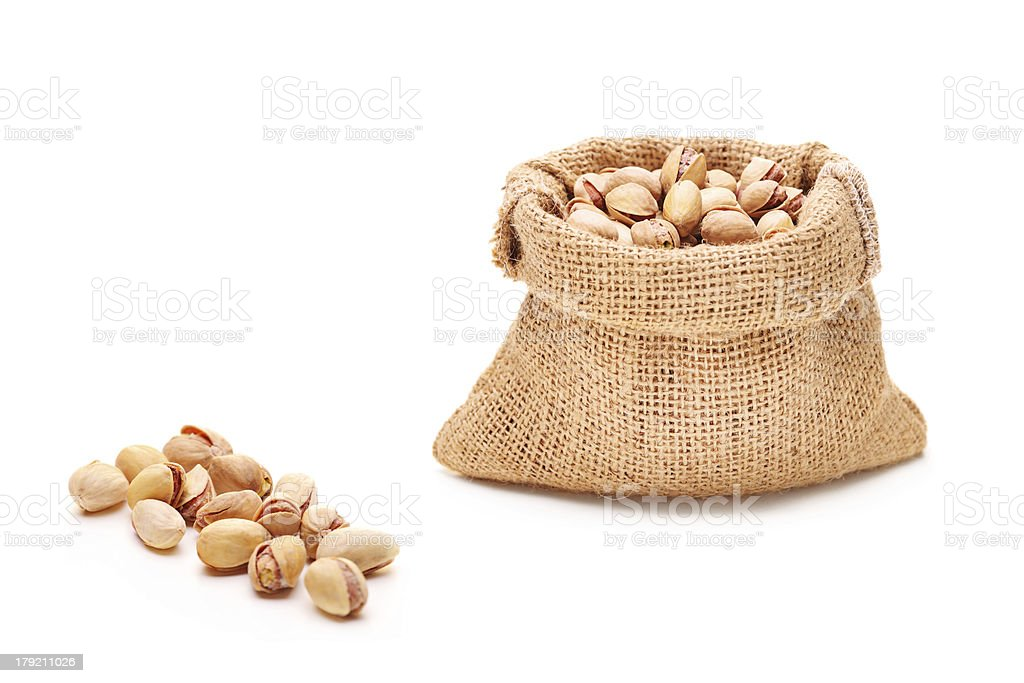 Salted and roasted pistachio in a bag royalty-free stock photo