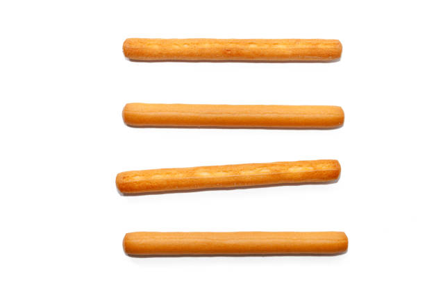 salted bread stick isolated on white background stock photo