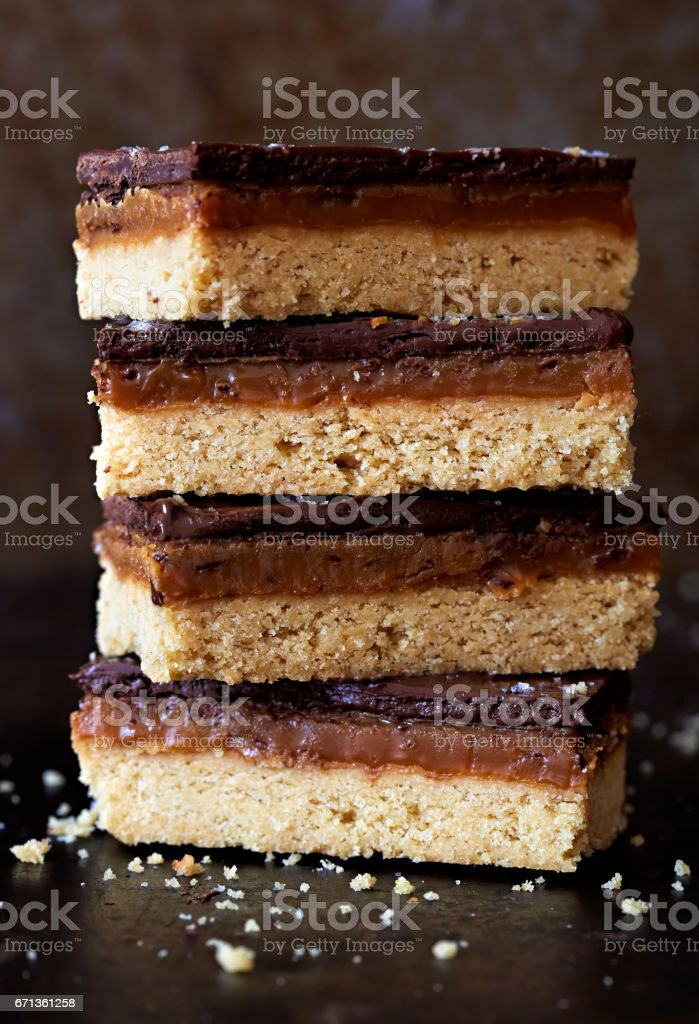 Salted caramel chocolate shortbreads stock photo