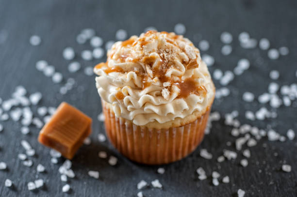 Salted Caramel Cupcake stock photo
