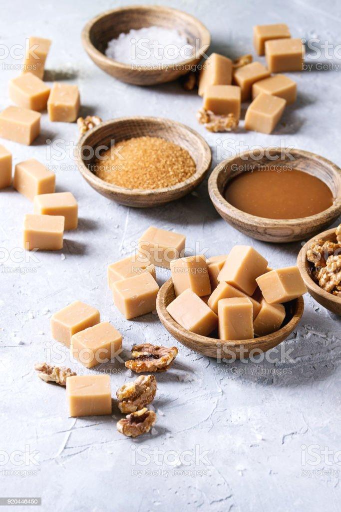 Salted caramel fudge stock photo