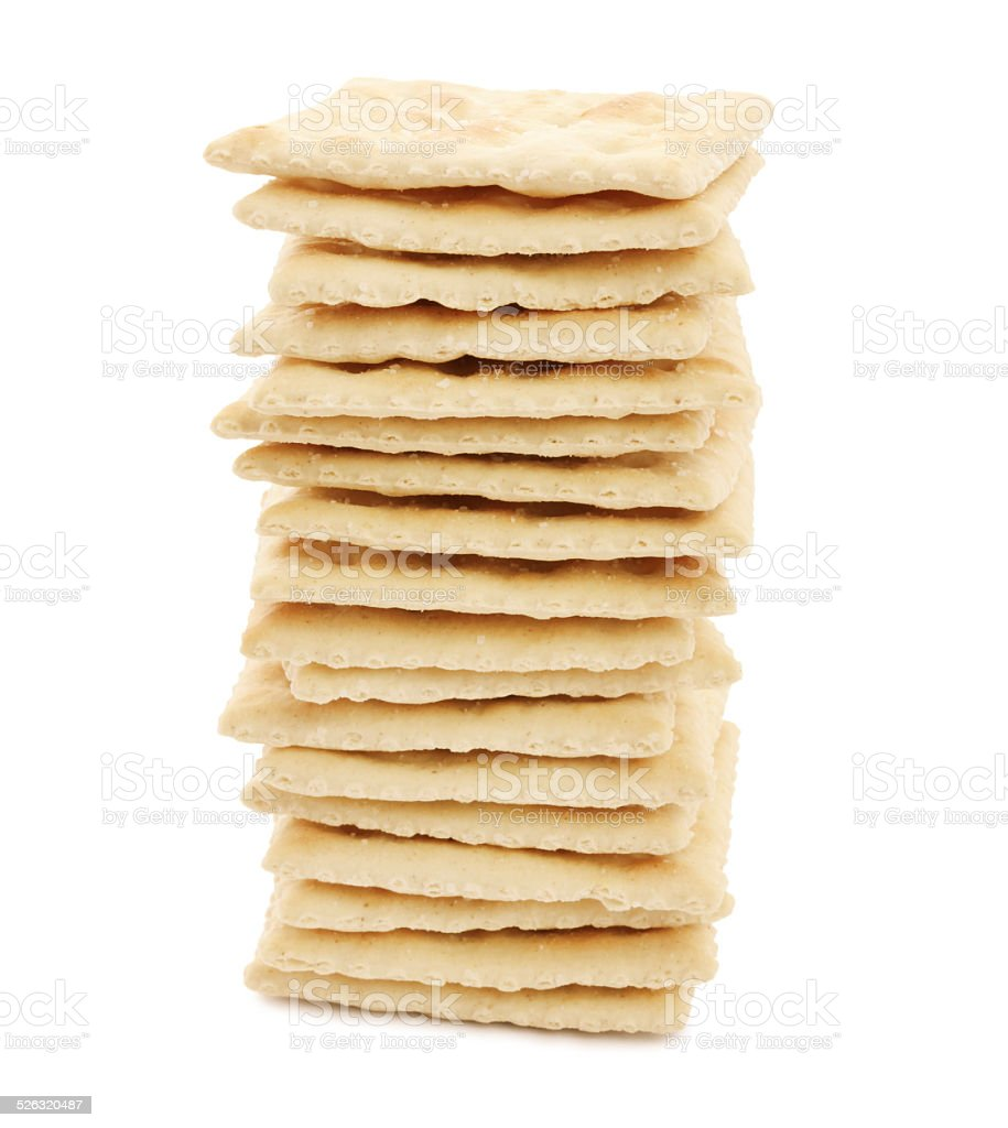 Salted cracker pile (with path) stock photo