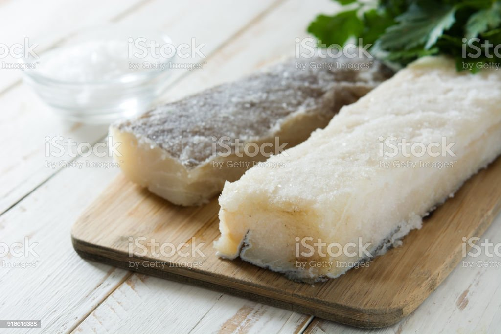 Salted dried cod stock photo