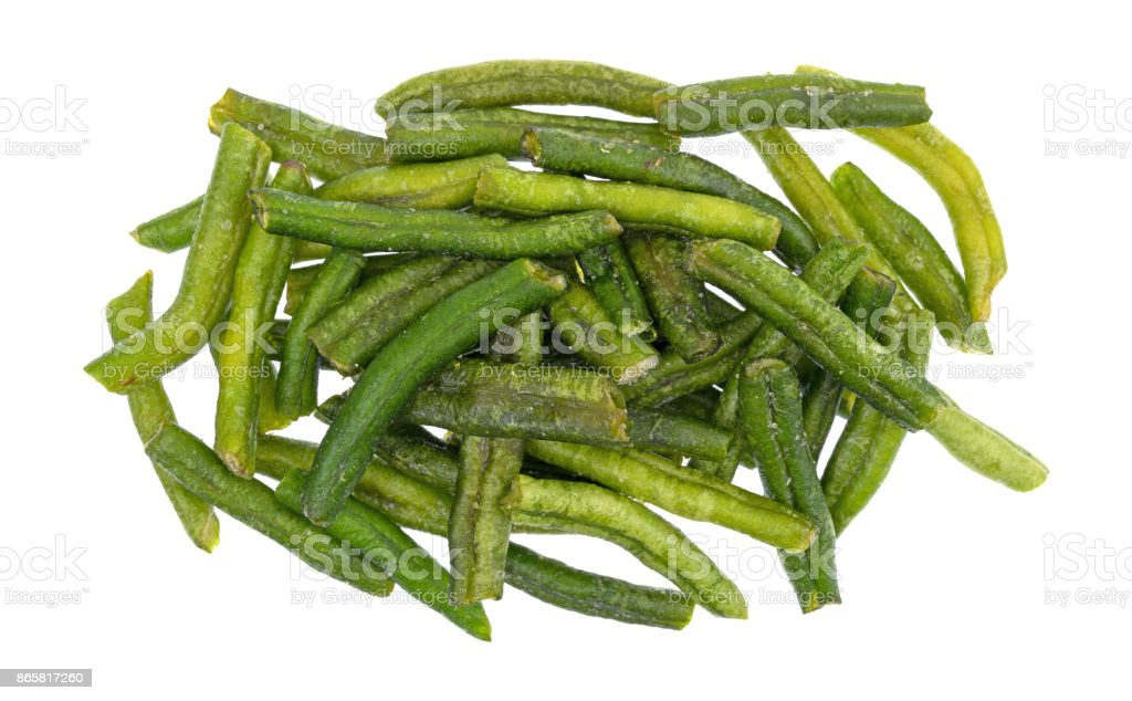 Salted dried green beans on a white background stock photo