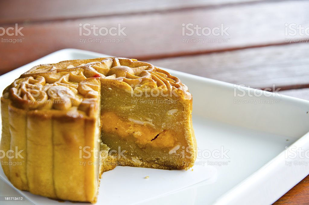 Salted durian mooncakes stock photo