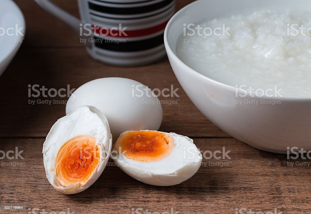 Salted egg and gruel, chinese food stock photo