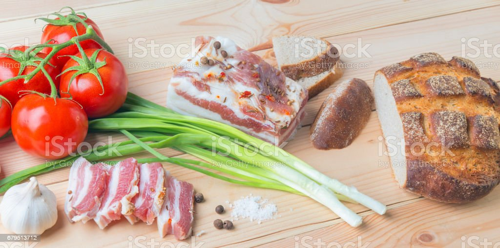 Salted Fatback (streak of lean) on cutting board royalty-free stock photo