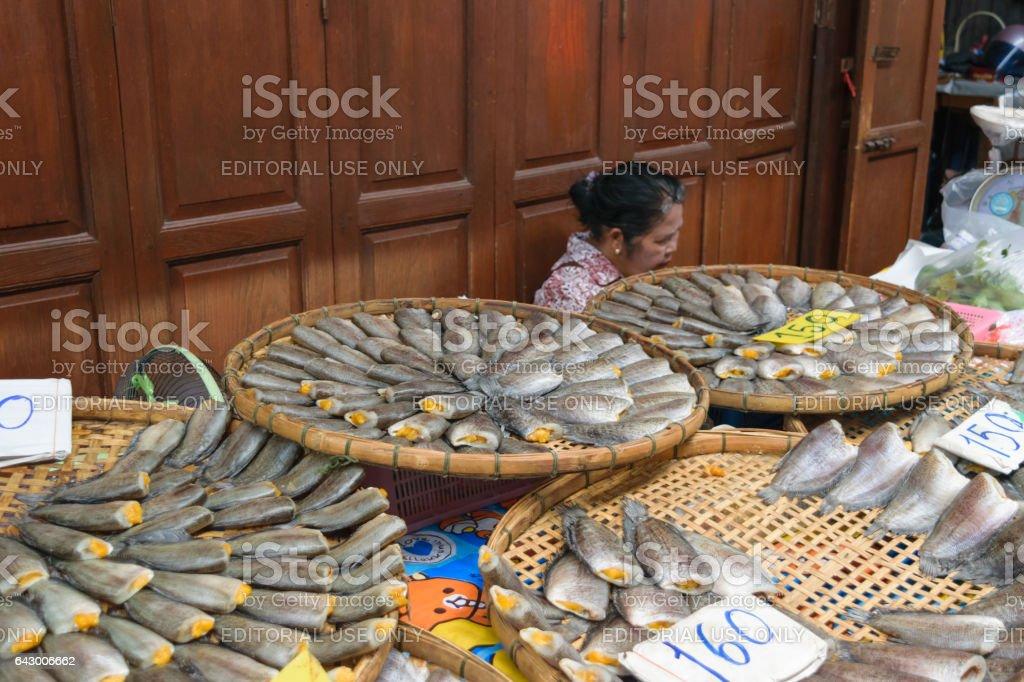 Salted fish in Sam Chuk market at Suphan Buri, Thailand stock photo