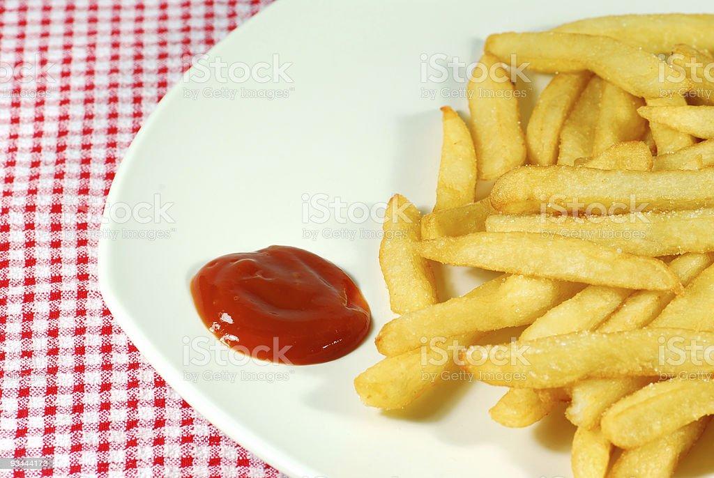 Pommes frites mit ketchup Lizenzfreies stock-foto