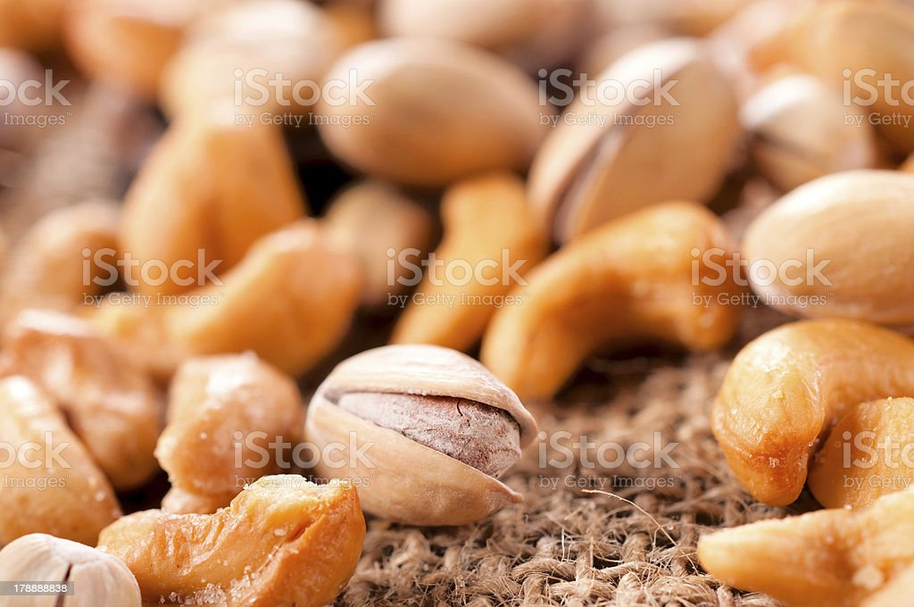 Salted pistachio and cashew nuts royalty-free stock photo