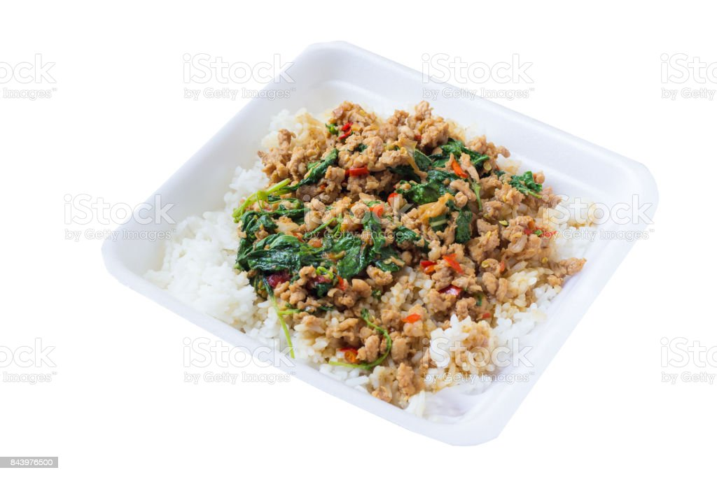 Salted pork with chili & Basil leaves. stock photo