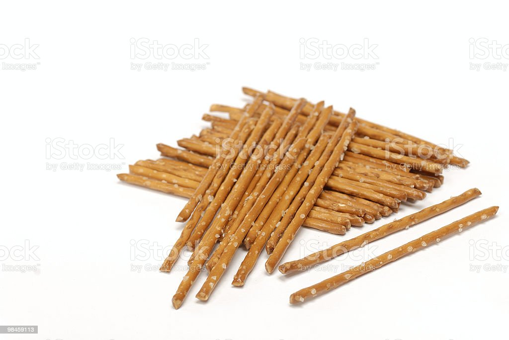 Salted pretzels isolated over white background royalty-free stock photo