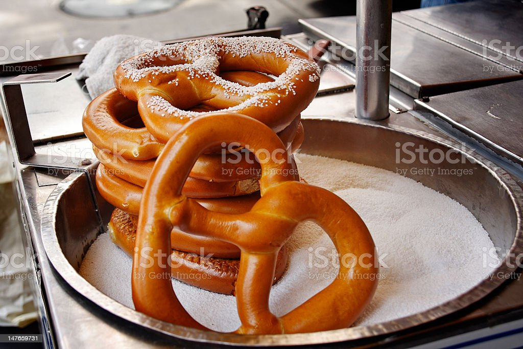 Salted Pretzels A stack of salted Pretzels in a street shop - New York City, USA Food Stock Photo