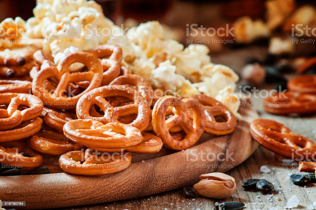 Salted straws in the shape of pretzels stock photo
