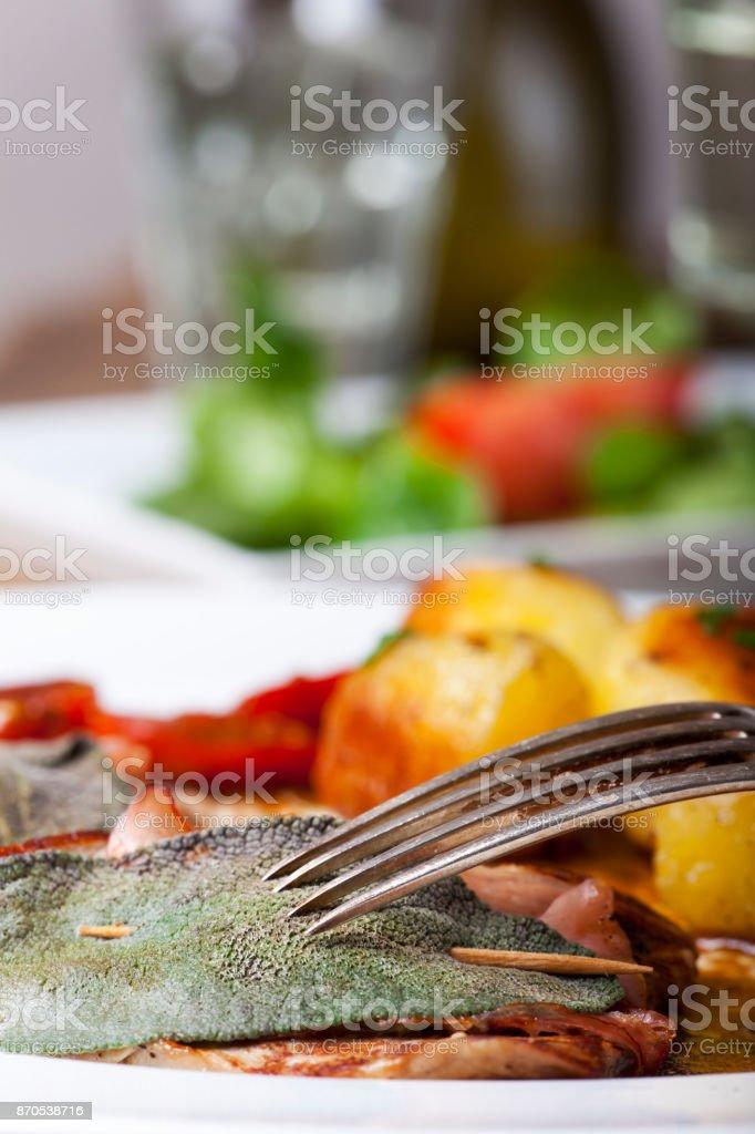 saltimbocca ala romana veal cutlet with sage stock photo