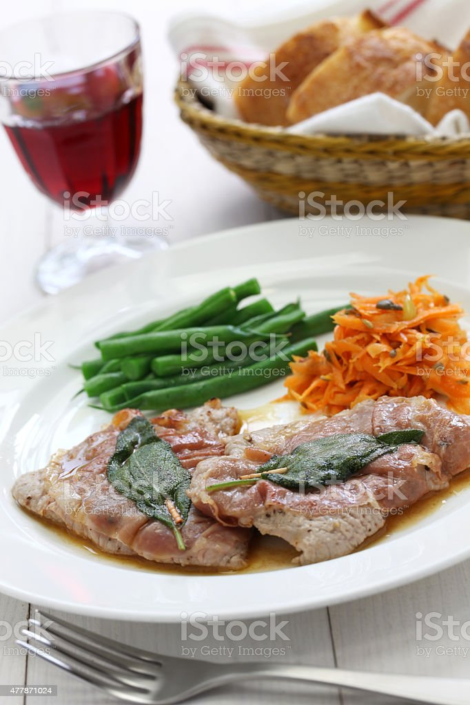 saltimbocca alla romana, italian cuisine stock photo