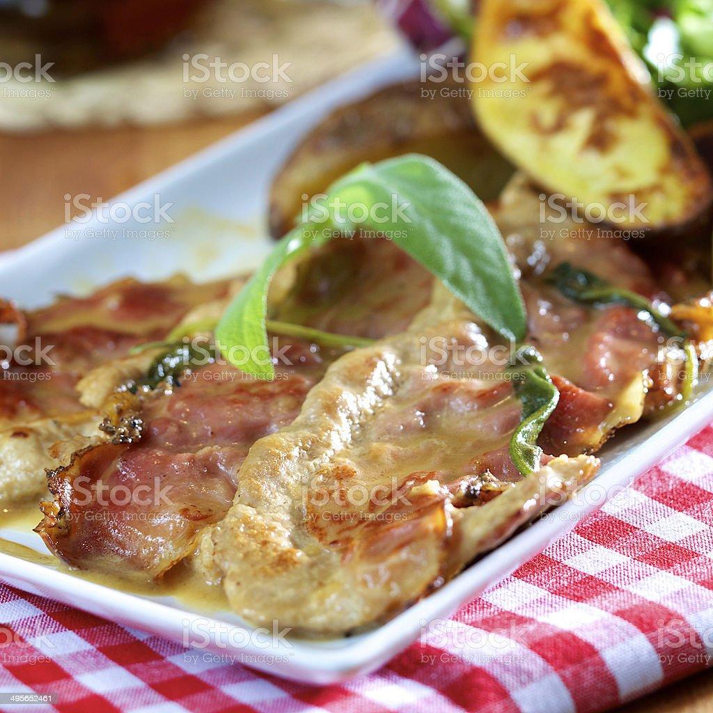 saltimbocca veal stock photo