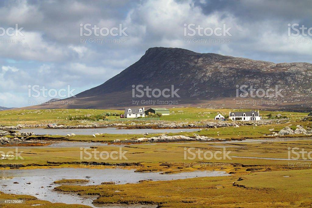 Saltmarsh in Grimsay, North Uist stock photo